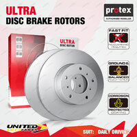 2 Rear Protex Disc Brake Rotors for Toyota Aurion GSV50 Camry AHV40 ASV50 AVV50